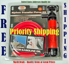 Portable Siphon Pump Car Manual Fuel Gas Transfer Oil Liquid Hand Air Kit New