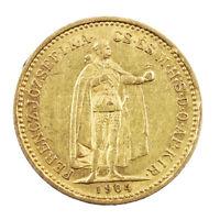 Pièce Or Hongrie 10 Couronnes François Joseph Année 1904