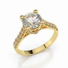 Brillant Diamantring 1,00 ct. Diamanten TOP WESSELTON+ 14K Gelbgold  Zertifikat