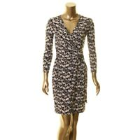 ANNE KLEIN NEW Women's Black Flowerfall Faux-wrap Sheath Dress TEDO
