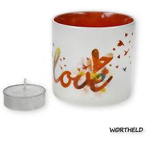 Restposten 10x Sheepworld Porzellan Windlicht mit Teelichtkerze  -Love! -  Neu**