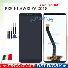 Display LCD per Huawei Y6 2018 ATU-L11 L21 Nero Touch Screen Vetro Schermo GLS
