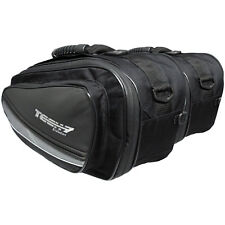 New Tech 7 Motorcycle Expandable Throw Over Panniers Saddlebags Luggage Black