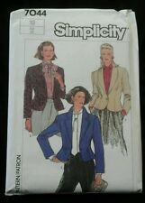 1985 Simplicity 7044 Misses' Lined Jacket size 10 Pattern