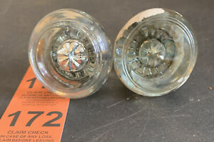 Pair Of Vintage Antique Round Smooth Crystal Glass Door Knobs
