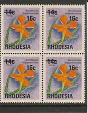 RHODESIA - 1976 - 16c ON 14c - WILD PIMPERNEL - BLOCK OF 4 - MNH - STAMPS