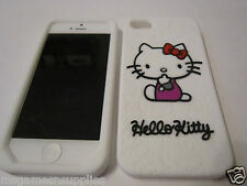 White Hello Kitty iphone SE 5S 5G 5 Patterned Silicone Gel Rubber Full Back Case