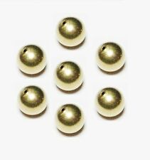 10 MM Solid Brass Round Seamless Hollow Beads Hole 1.5 MM Pkg. 10  Natural, USA