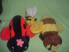 Vintage 1976 Dakin Plush Chime Bumble Bee, Ladybug & Matching Beanie Bee 1981