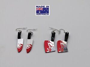 Halloween  Bloody Butcher Knifes Novelty Dangling EARRINGS Gift Dress Accessory
