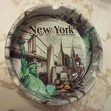 NEW YORK WHITE CERAMIC ASH TRAY CIGARETTE SMOKE BRIDGES STATUE OF LIBERTY TAXI