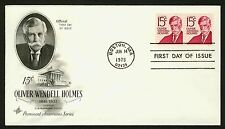 #1305E 15c Oliver Wendell Holmes-Pair, Art Craft Fdc *Any 4=Free Shipping*