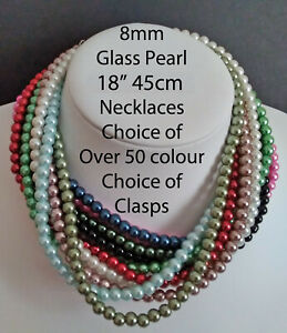 """18"""" 45cm 8mm Glass Pearl Necklace (Choice of colours Clasps) CLEARANCE PRICE"""