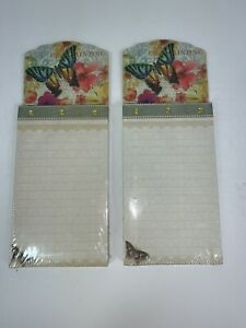"2 Punch Studio Jeweled Butterfly Notepad w/Magnetic Back 75 Sheets 3.5""x6"" NEW"
