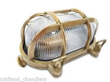 Brass Marine Style Bulkhead Light C/W Cage Narrowboat/Outdoor