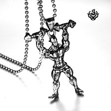 Silver Stainless Steel Bodybuilder Hat Weight Dumbbells Pendant Chain Necklace