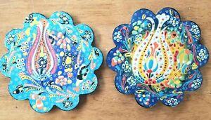 TWO Turkish Trivet Handmade Relief Ceramic Kitchen Hot Plate Garden Flowers NEW