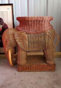Vintage Wicker Elephant End Side Accent Table With Removable Tray Trunk Up