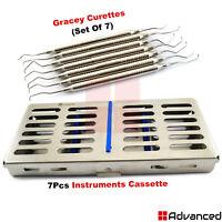 7Pcs Dental Periodontal Gracey Curettes With Sterilization Cassette Tray Box Kit