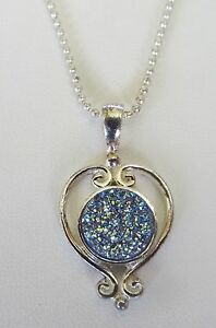Women's Silver Plated Heart  Sajen Blue Druzy Quartz Pendant  w/18 Inch Chain