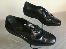 Tod's Wingtip Oxfords Patent Leather Black Perforated toe Size 6.5
