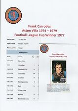 FRANK carrodus ASTON VILLA 1974-1979 ORIGINALE FIRMATO FIGURINA PANINI ADESIVO