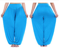 Womens Solid Harem Yoga Pants Summer Casual Loose Baggy Gypsy Trousers Plus Size