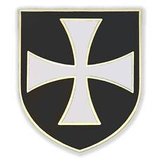 CHRISTIAN ARMY CRUSADER KNIGHTS ORDER WHITE CROSS BLACK SHIELD GOLD PIN GIFT BOX
