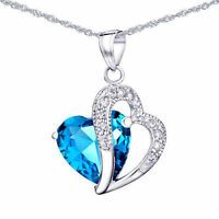 5.66 Ct Blue Topaz Gemstone Pendant Necklace .925 Solid Sterling Silver Chain