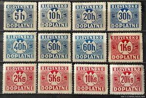 Slovakia / Slowakei / Slovensko Porto Mi № 1-12 (MNH/MLH/MH) 1939 CV 50-60 €