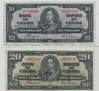 1937 $10 and $20 Bank of Canada Notes Coyne/Towers
