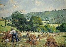 Tableau ancien paysage animé moissons enfant signé André HARDY (1862-1942)