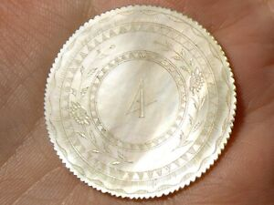 c1860 Circular Number 4 Chinese Carved Mother of Pearl Gaming Counter #4