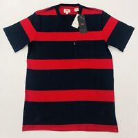 Levis Men's Striped Round Neck T-Shirt In Navy & Red