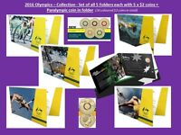 2016 RIO Set of 5 different Olympics folders each 5 coloured $2 + Paralympic