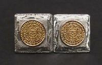 VINTAGE MEXICAN STERLING SILVER GILT GOLD CUFFLINKS MAYAN AZTEC CALENDAR TAXCO