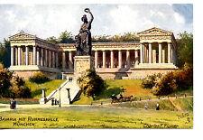 Bavaria Statue-Hall of Fame-Munich-Germany-Tuck Flower Artwork Vintage Postcard