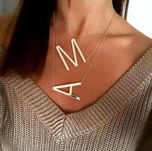 Large Letters name necklace Gold sideways Pendant A-Z letters Alphabet