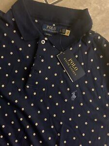 NWT Polo Ralph Lauren XL Printed Soft Knit Polo Polka Dot Classic Fit