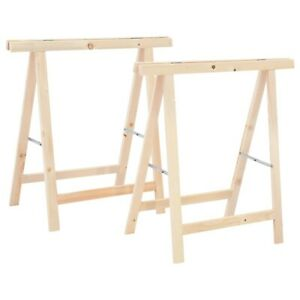 Wooden Folding Sawhorses Foldable Saw Stand Trestle 2 Pieces Wood Tool