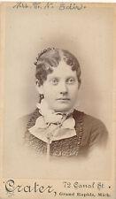1870-79 CDV ID'd Lady, Flat Curls, Jabot, Grand Rapids Mich Sepia Crater Photo