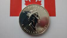 MONEDA DE PLATA PURA CANADA 5 DOLARES 1 ONZA  AÑO 1991 0.999/1000 SIN CIRCULAR.