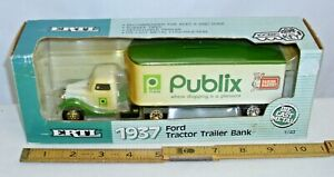 ERTL 1937 FORD PUBLIX TRACTOR TRAILER SEMI TRUCK DIE CAST TOY 1/43 BOXED NEW