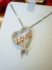 Open Heart Rose Gold LOVE Diamonds Necklace New with Kay Jewelers Velvet Box