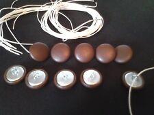 Botones De Tapicería. bucle Cable + longitud de hilo 10 X NO36 Vinilo Marrón Cubierta