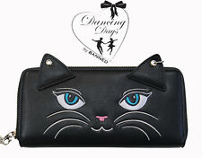 Banned Apparel Kitty Whiskers Cat Ears Vintage Rockabilly Purse Wallet Black