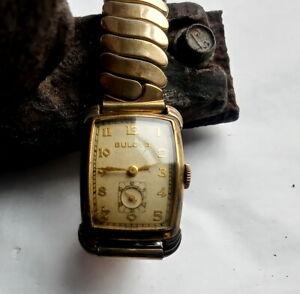 1940's  Bulova Men's Wristwatch Art Deco GF Bezel White Face