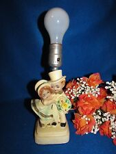 """VINTAGE YOUNG BRIDE & GROOM  CHALKWARE 1950'S TABLE LAMP  9 1/2"""" TALL"""