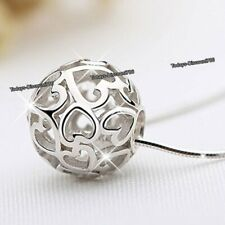 Cute 925 Sterling Silver Ball Heart Pendant Necklaces Xmas Her Ladies Jewellery