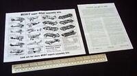 Merit (Randall) Cooper Racing Car Kit Instruction Sheet + Catalogue circa 1959.